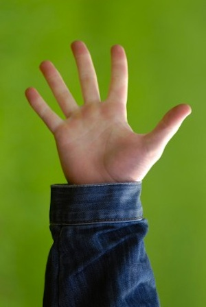 5 fingers on green background