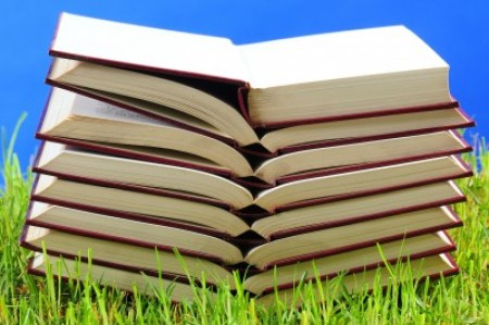 Stack of open books on grass