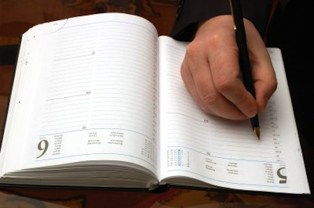 Hand writing in date book