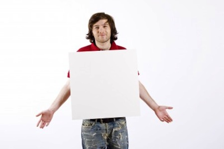 Man holding blank slate