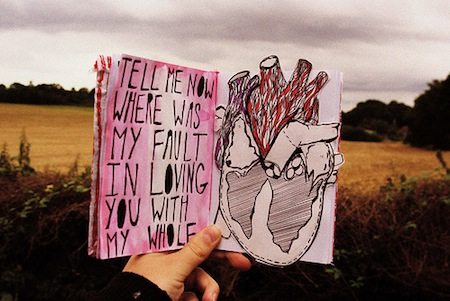 Hand holding book outside in a field