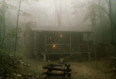 Cabin in the foggy woods