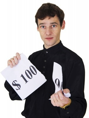 Man with $100 sign
